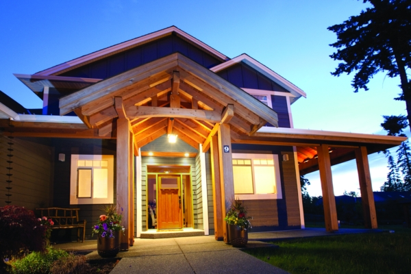 Hybrid timber frame homes pacific homes for Hybrid timber frame home plans